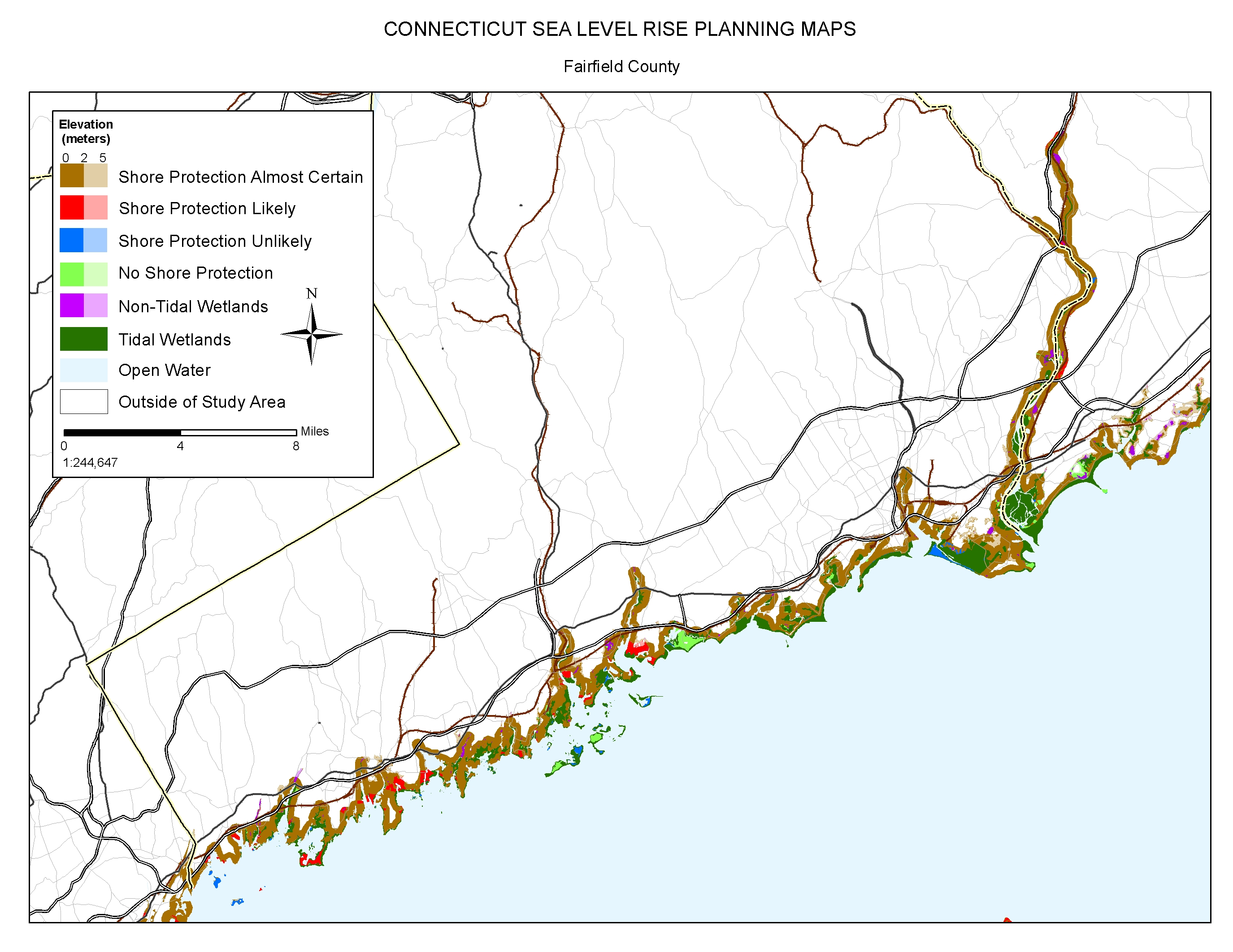 sea levei rise planning map of fairfield connecticut. sea level rise planning maps likelihood of shore protection in