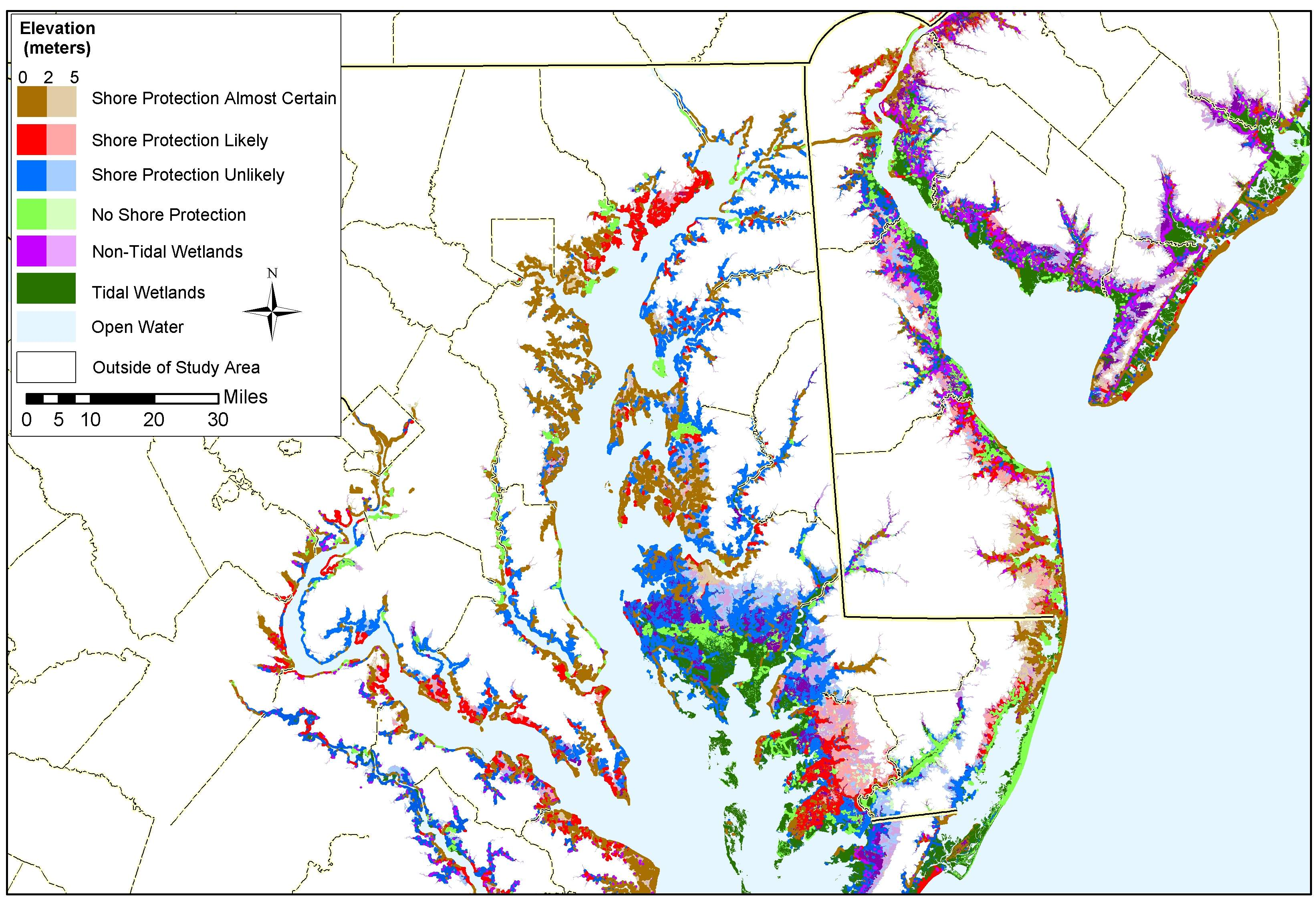 maryland sea level rise planning map. adapting to global warming