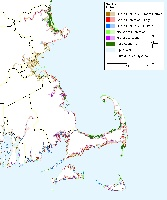 Boston, Nantucket, Martha's Vineyard. Massachusetts sea level rise planning map