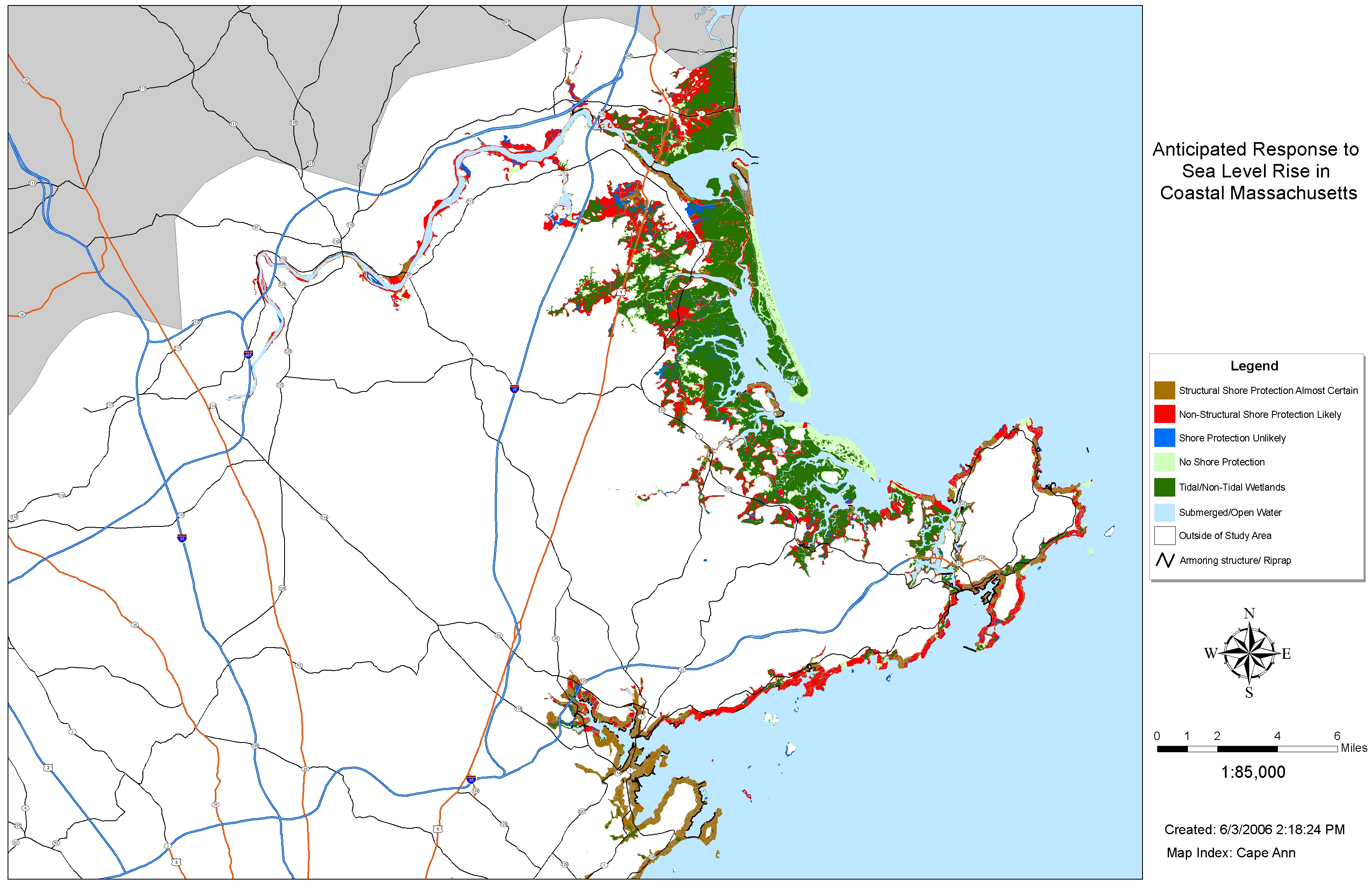 cape cod bay. sea level rise planning maps likelihood of shore protection in