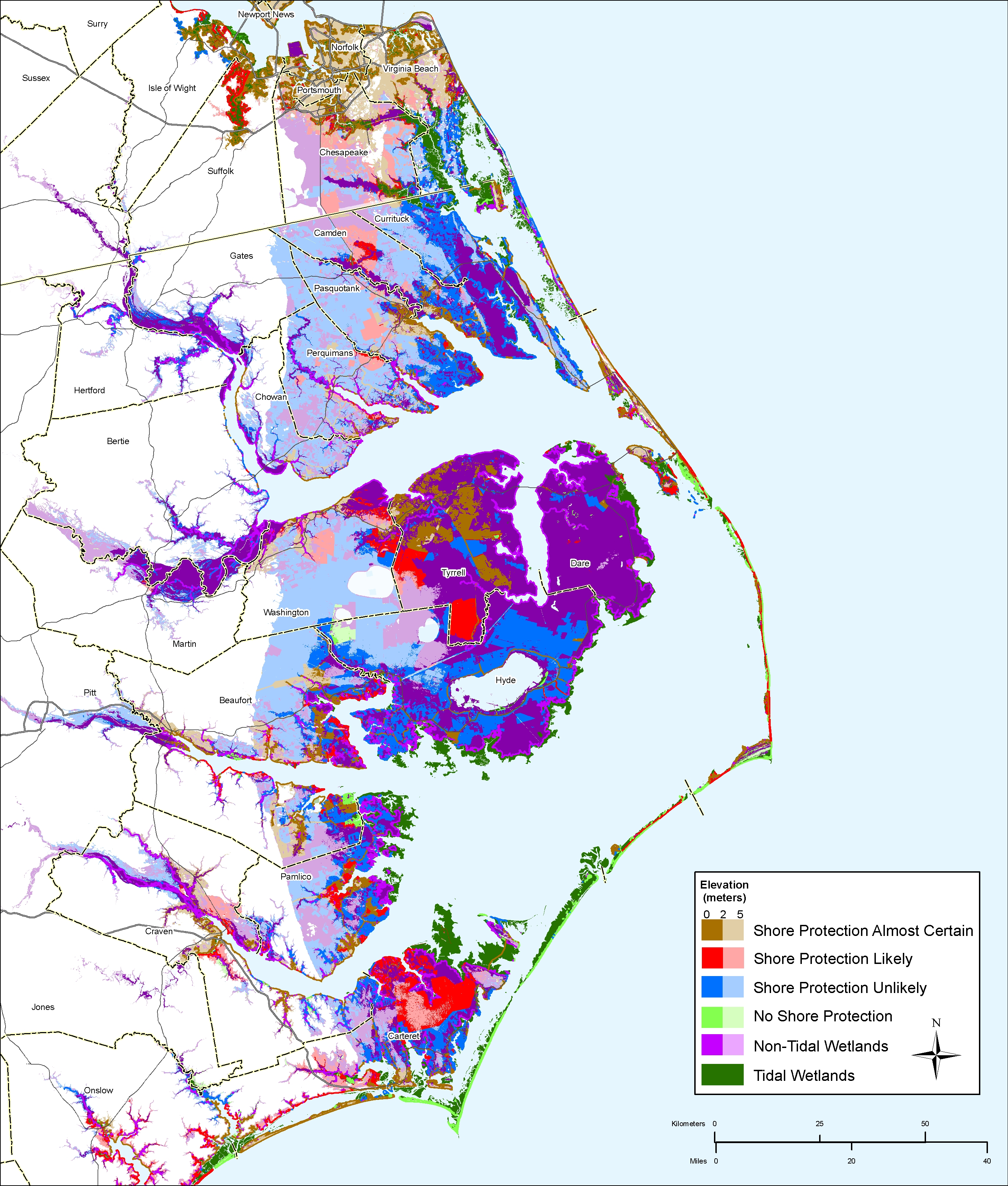 Sea Level Rise Planning Maps Likelihood Of Shore Protection In - Map of northern north carolina