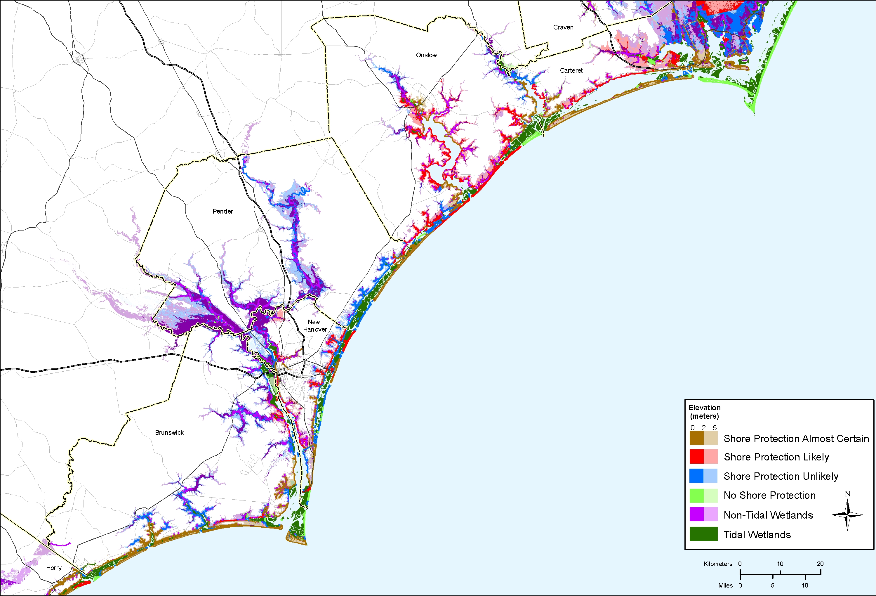 Sea Level Rise Planning Maps Likelihood Of Shore Protection In - Map of no carolina