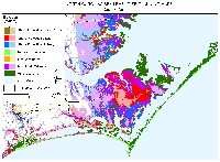 Moorehead City, Beaufort, Sea Level, North Carolina.  Sea level rise planning map