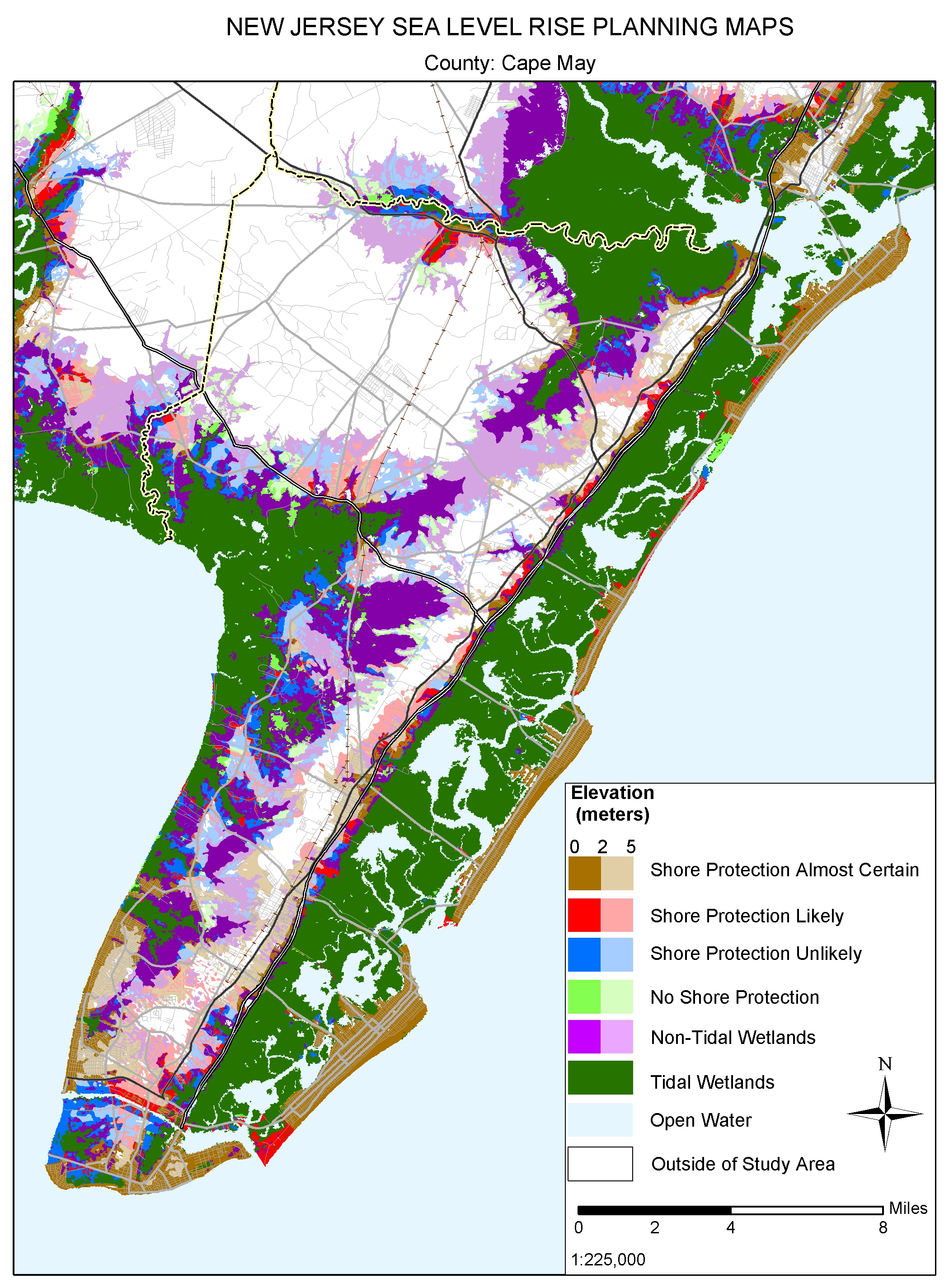 Cape May, New Jersey: sea level rise planning map