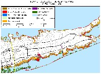 Most of Suffolk County, New York: sea level rise planning map