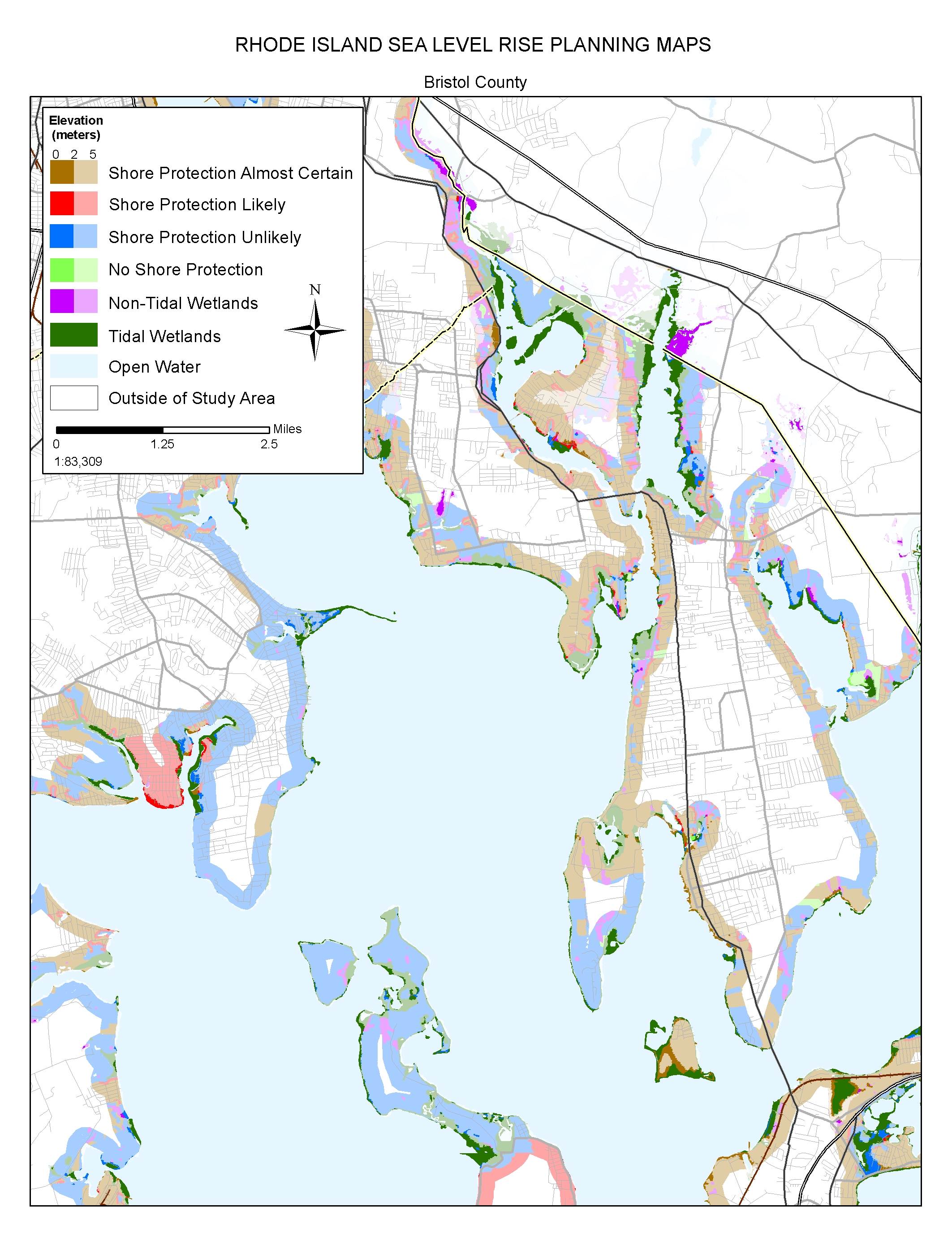 Sea Level Rise Planning Maps Likelihood Of Shore Protection In - Rhode island county map