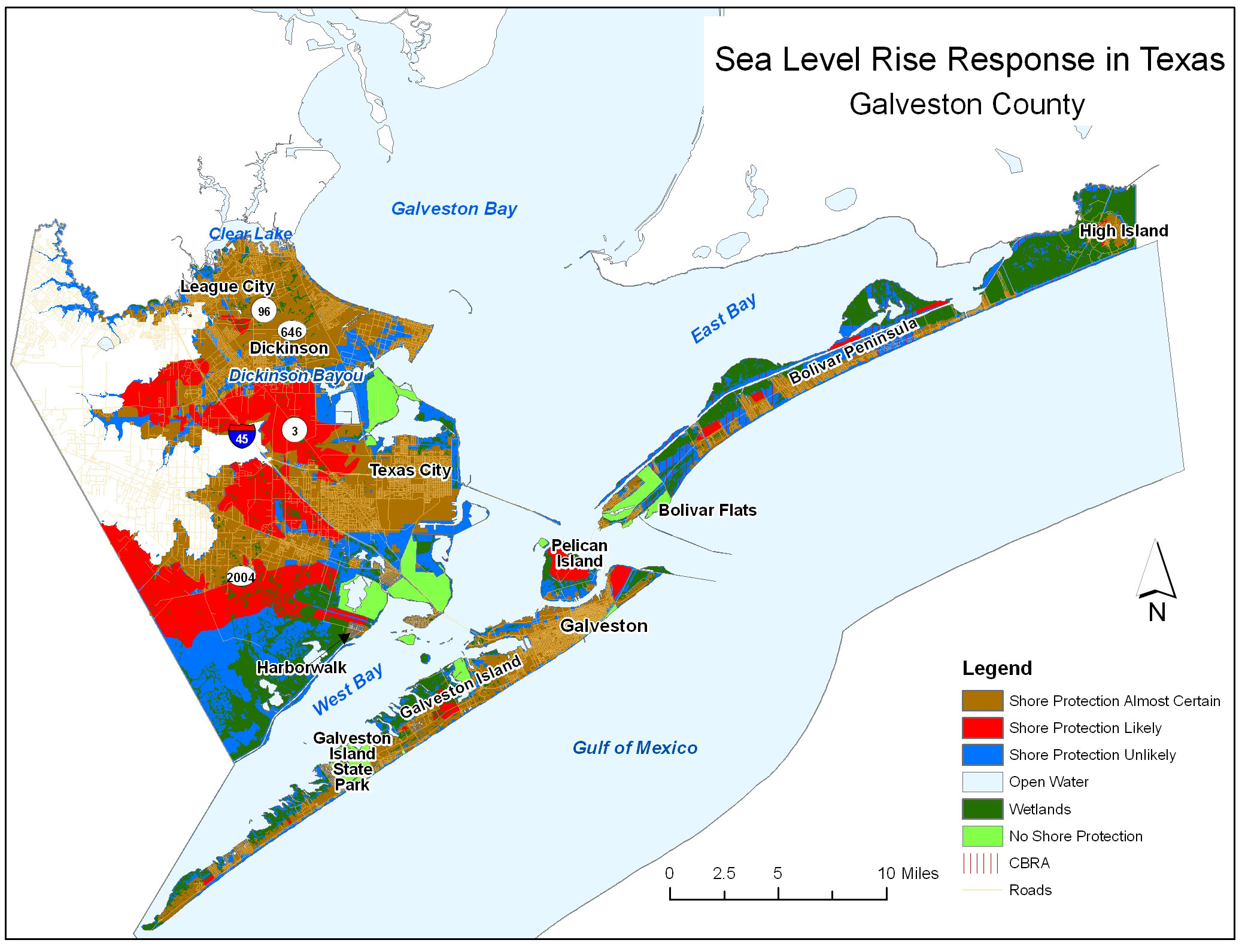Sea Level Rise Planning Maps Likelihood Of Shore Protection In - Map of texas cities and counties