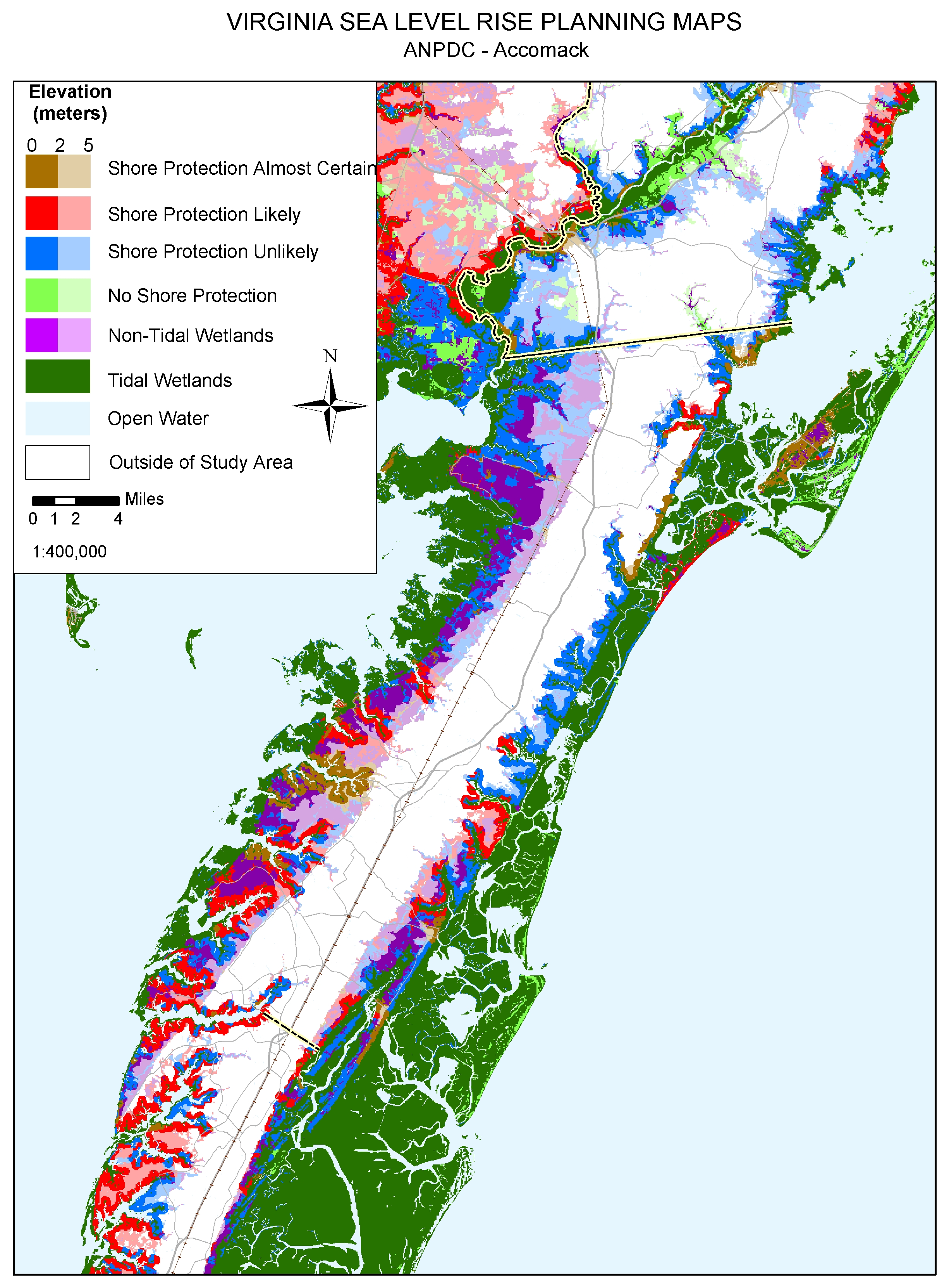 Chincoteague, Virginia: sea level rise planning map