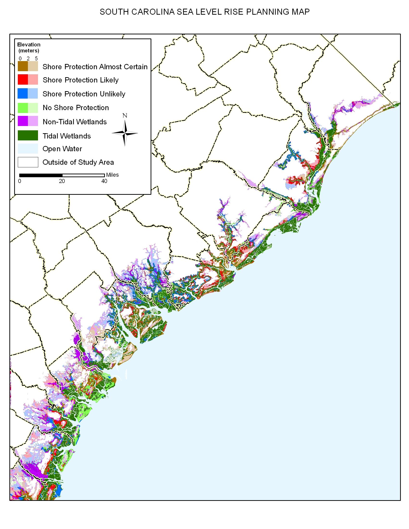 Coast Of South Carolina Map.Sea Level Rise Planning Maps Likelihood Of Shore Protection In